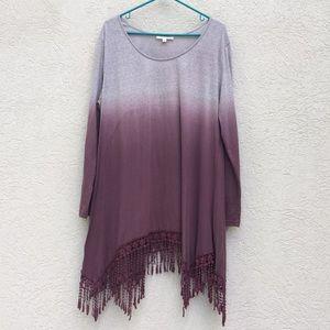 Umgee tunic top XL ombre maroon crochet hem